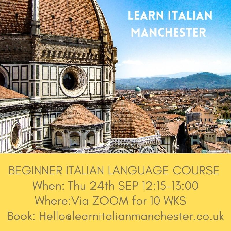 Learn Italian Online lunchtime course flyer